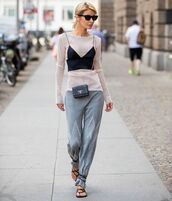 top,tank top,black sandals,grey pants,bag,ribbed top