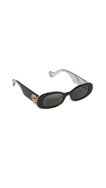 Gucci Fluo Narrow Acetate Sunglasses in black / grey