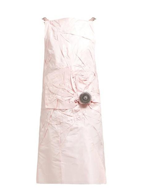 Calvin Klein 205w39nyc - Brooch Embellished Silk Taffeta Dress - Womens - Pink