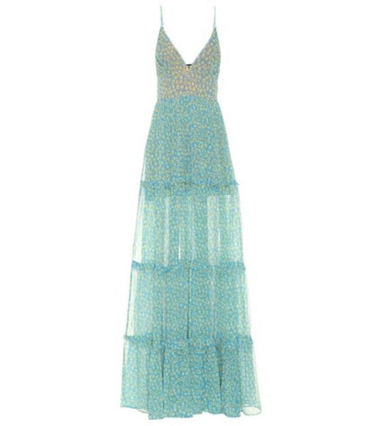 Amiri Floral-printed silk maxi dress in blue