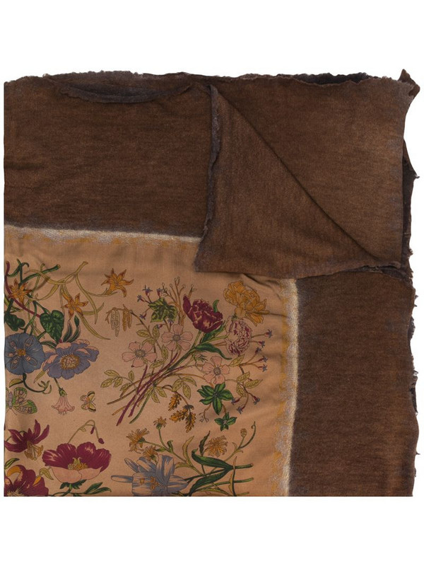 Avant Toi floral print scarf in brown