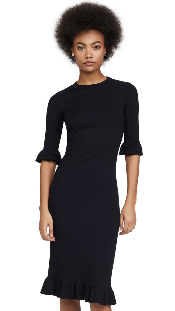 Stateside Mini Rib Ruffle Dress in black