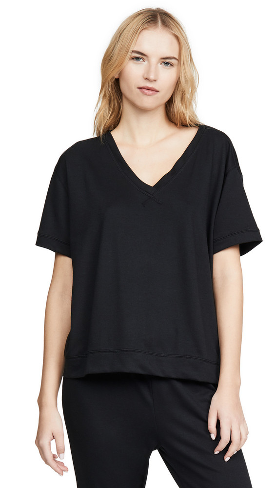 Yummie Baby French Terry V Neck Tee in black