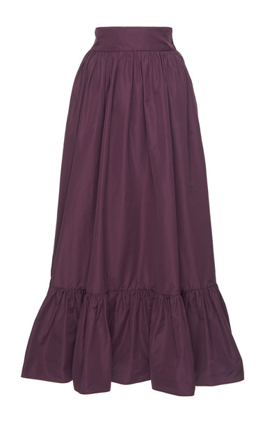 Valentino Gathered Cotton-Blend Maxi Skirt in purple