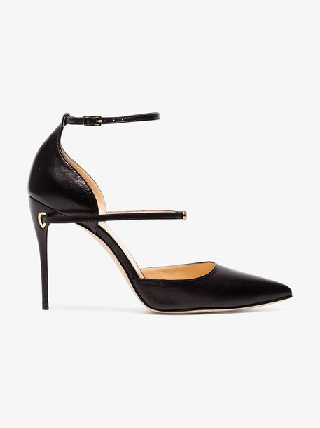 Jennifer Chamandi Black Enrico 105 leather pumps