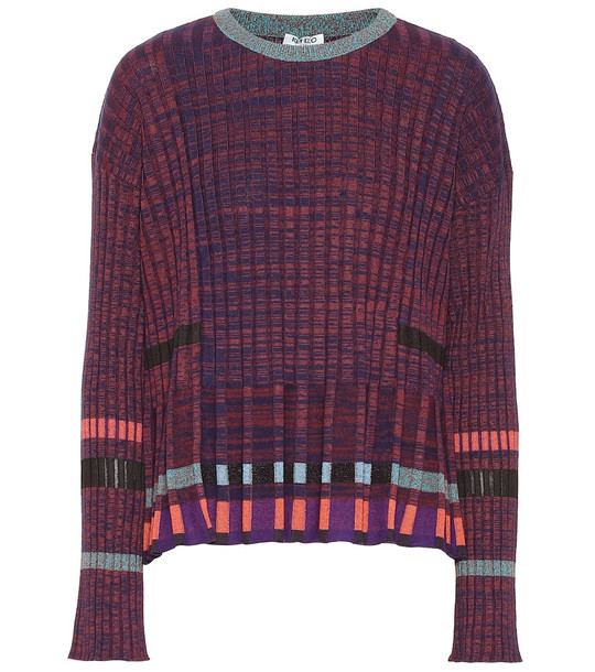 Kenzo Ribbed-knit cotton-blend sweater in purple
