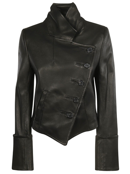 Ann Demeulemeester One Sided Buttoned Leather Jacket in black
