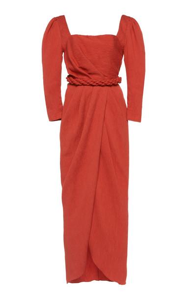 Johanna Ortiz Classic Meetings Draped Crepe Midi Dress Size: 2 in pink