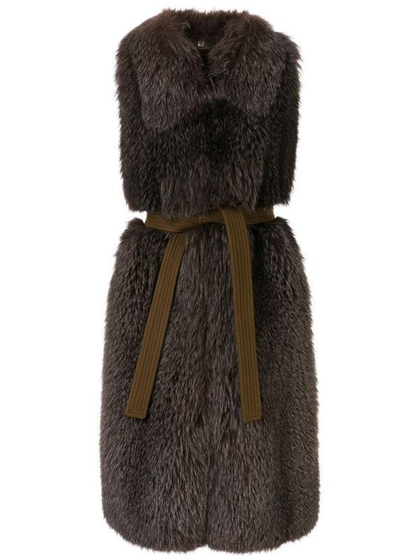 Blancha sleeveless shearling jacket in brown