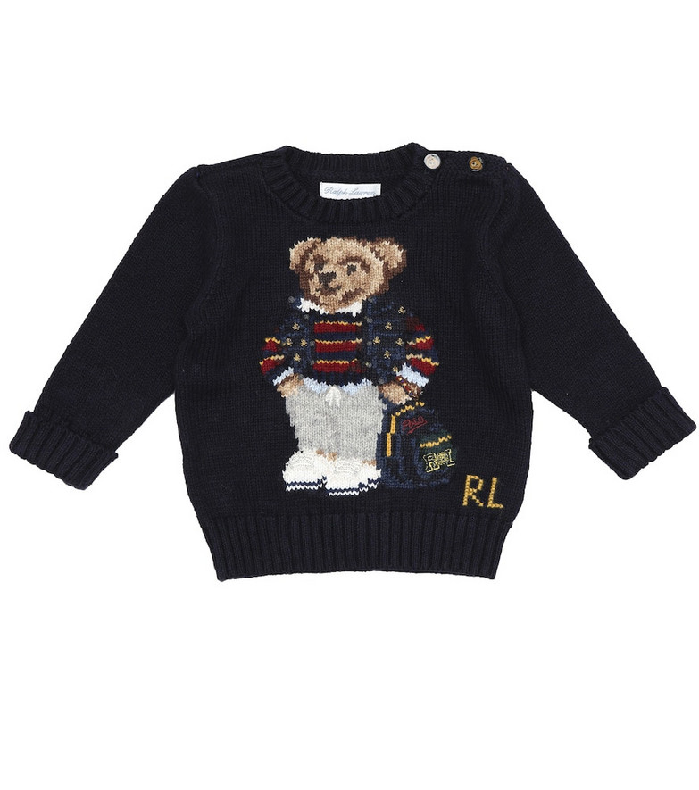 Polo Ralph Lauren Kids Baby Polo Bear intarsia cotton sweater in blue