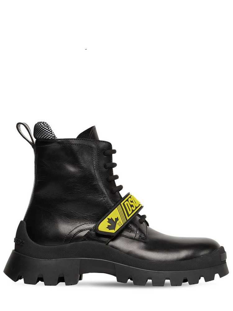 DSQUARED2 30mm Fluo Signature Leather Combat Boots in black