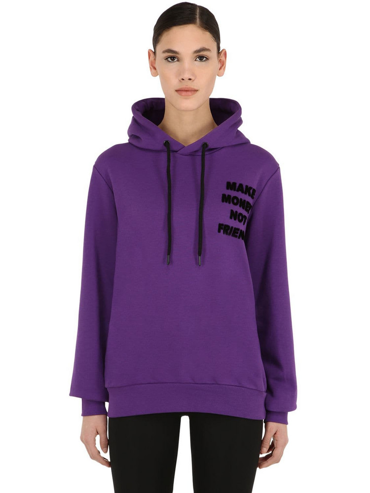 MAKE MONEY NOT FRIENDS Logo Print Cotton Sweatshirt Hoodie in purple