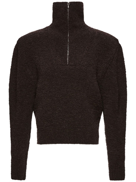 MAGDA BUTRYM Wool Blend Knit Bouclé Zip Sweater in brown
