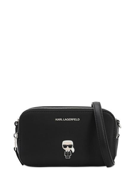 KARL LAGERFELD Ikonik Pin Leather Camera Bag in black