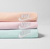 sweater,pastel blue,pastel pink,pastel orange,nike sweater
