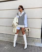 sweater,oversized,vest,knitwear,knee high boots,louis vuitton bag,white shirt,trench coat