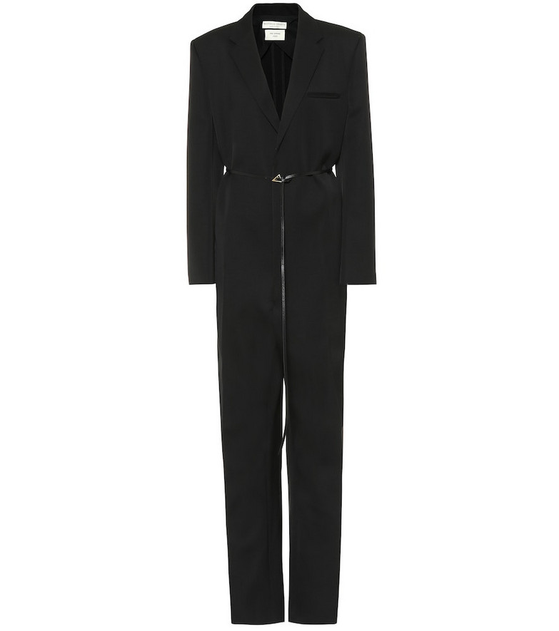 Bottega Veneta Leather-trimmed wool jumpsuit in black
