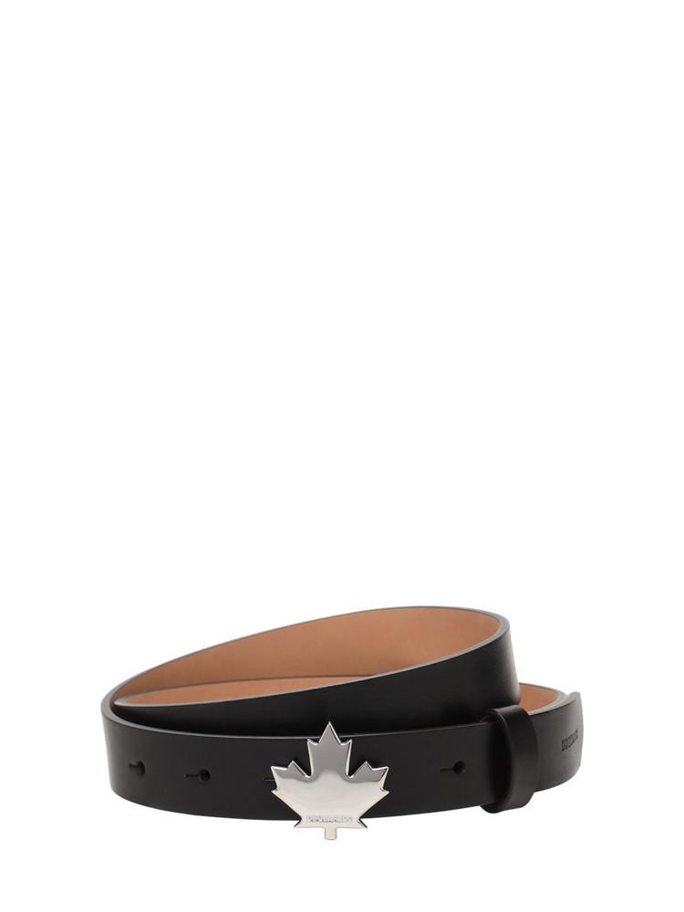 DSQUARED2 2.5cm Leaf Buckle Leather Belt in black