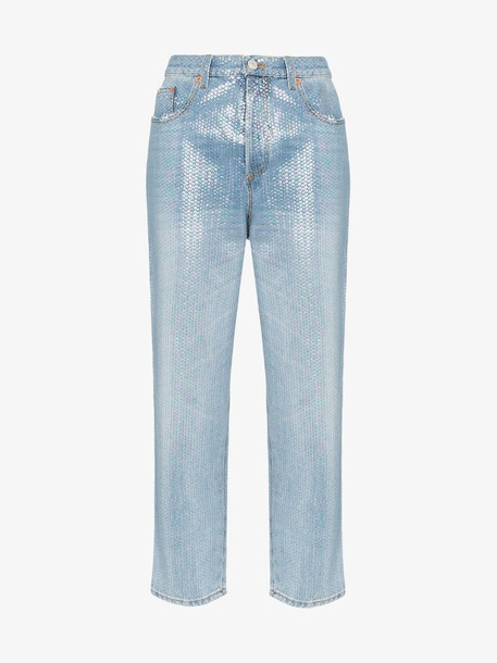 Gucci sequin-embellished cropped jeans in metallic