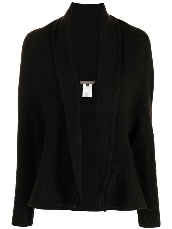 Suzusan shawl-collar cashmere cardigan in black