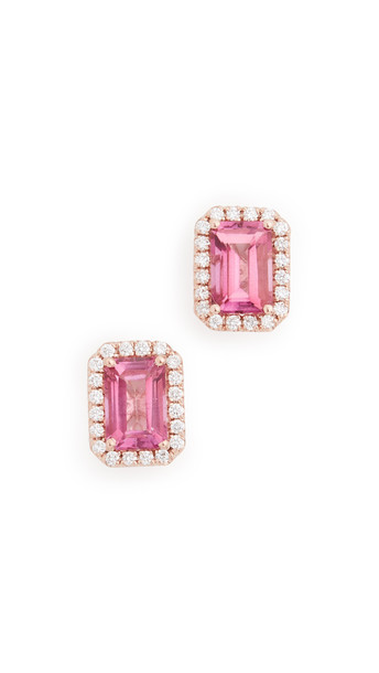 Kalan by Suzanne Kalan 14k Rose Gold Emerald Cut & Pave Diamond Stud Earrings