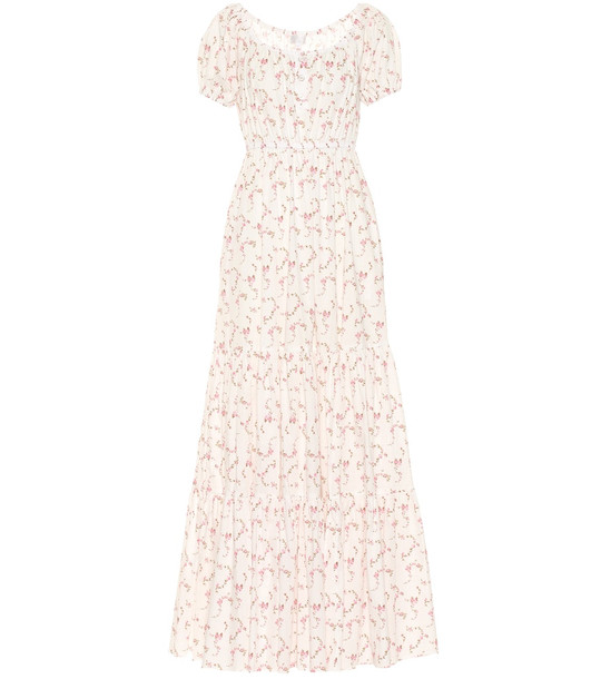 Caroline Constas Bardot stretch cotton maxi dress in white