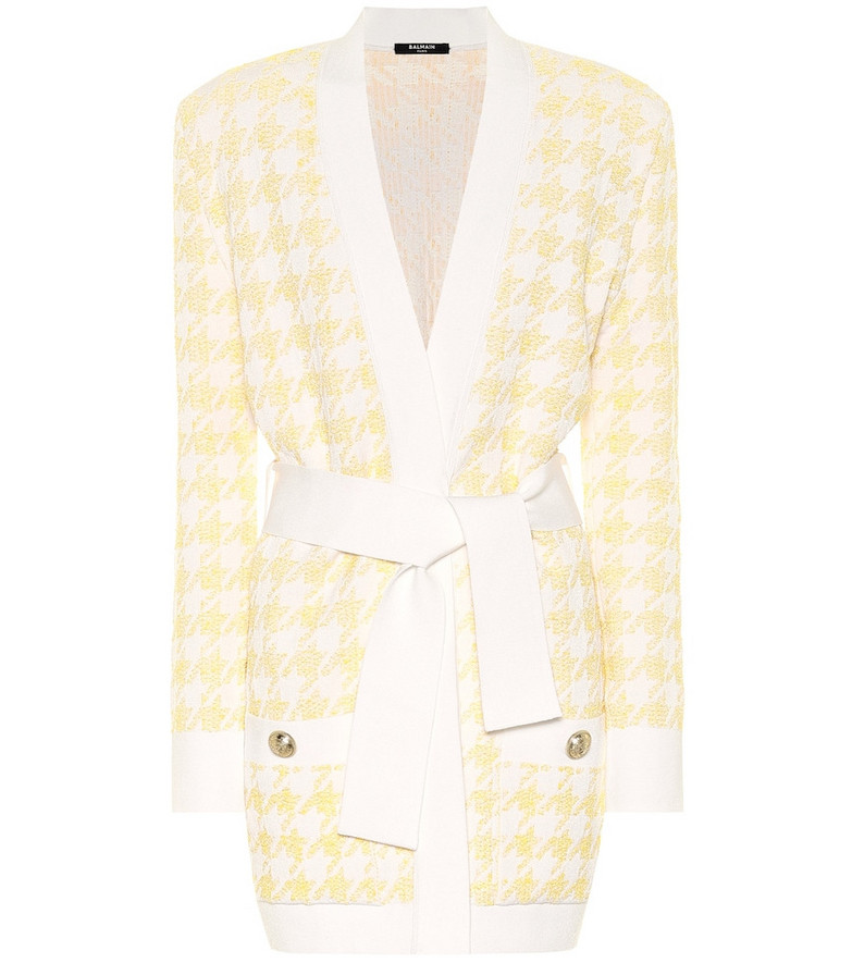 Balmain Exclusive to Mytheresa – Houndstooth jacquard belted cardigan in yellow