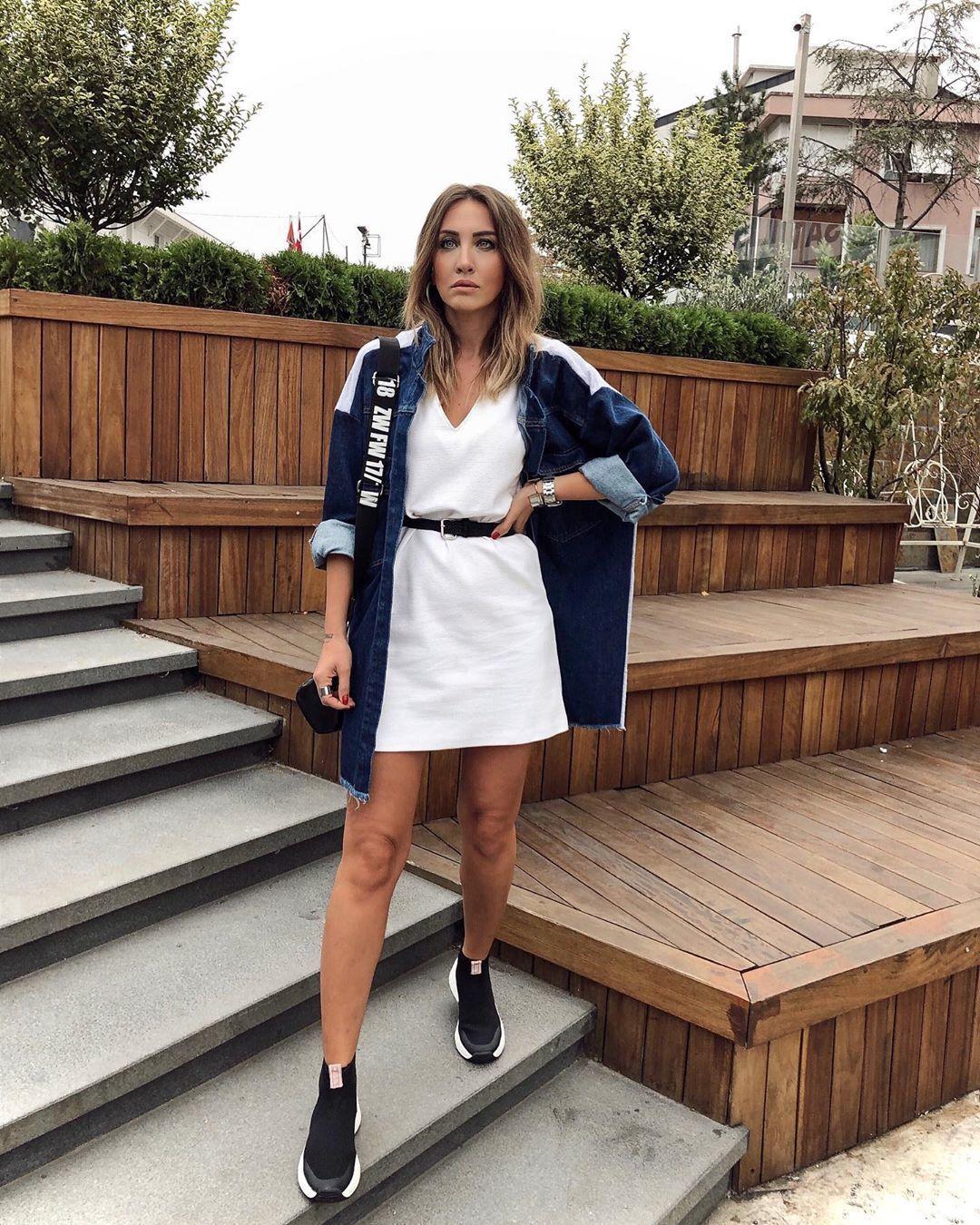 shoes sneakers high top sneakers zara white dress denim jacket oversized jacket black bag