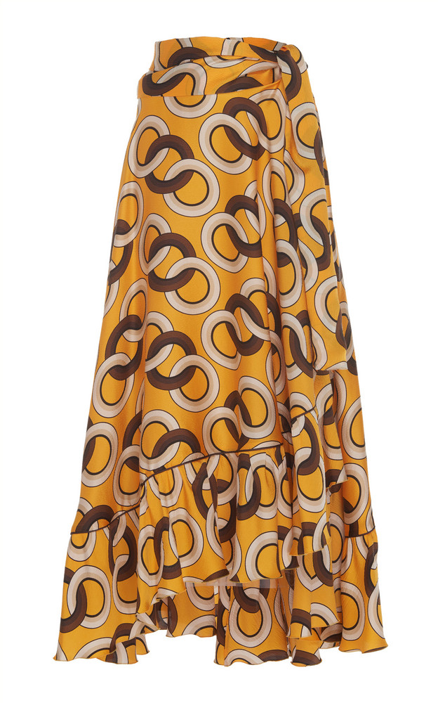 For Restless Sleepers Bronte Printed Silk Maxi Skirt in print