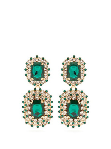 Dolce & Gabbana - Crystal Embellished Clip Drop Earrings - Womens - Green