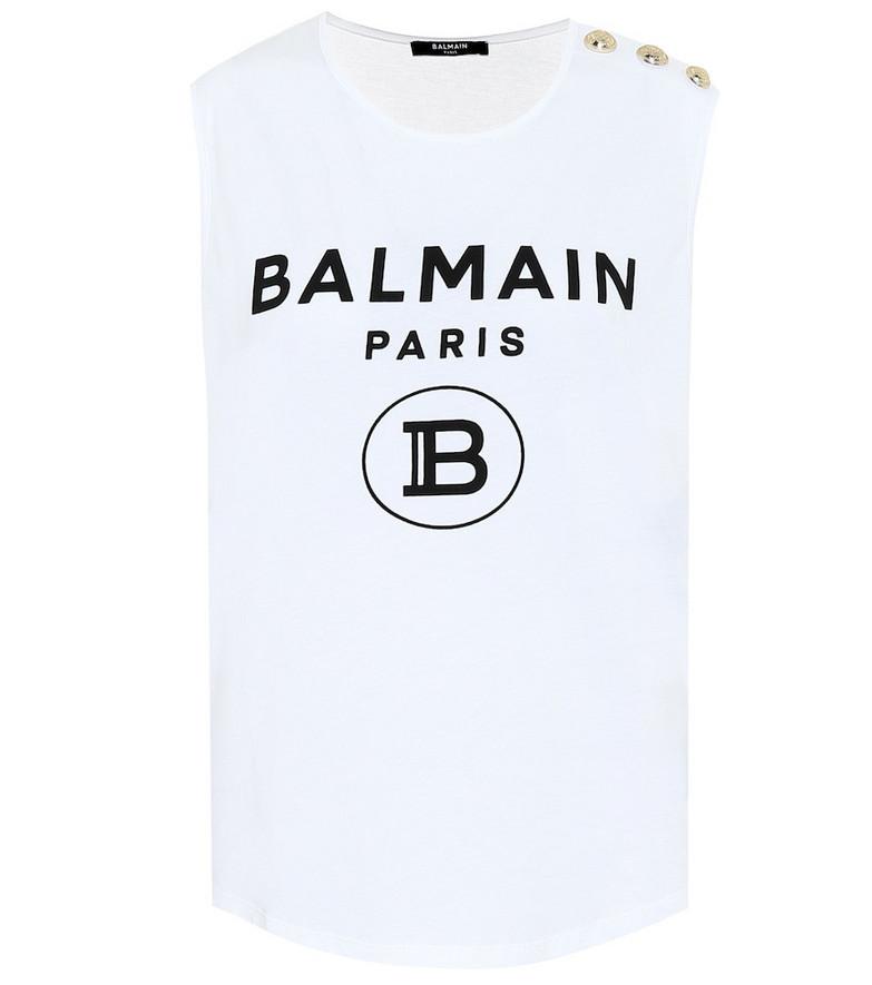 Balmain Logo cotton-jersey top in white