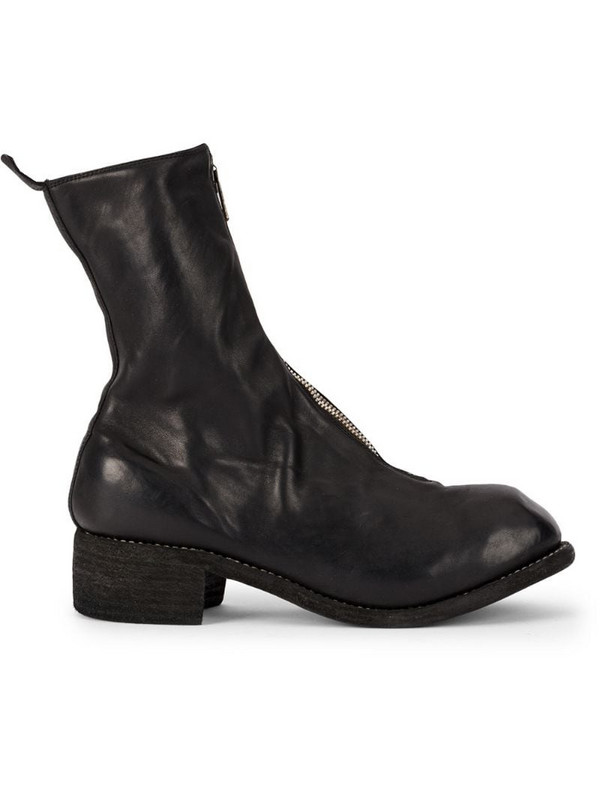 Guidi front zip ankle boots in black