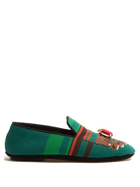 Loewe - Needlepoint Slipper With Toes Motif - Womens - Green Multi