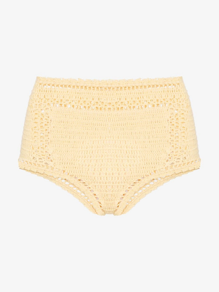 She Made Me Essential crochet high-waisted bikini bottoms in yellow
