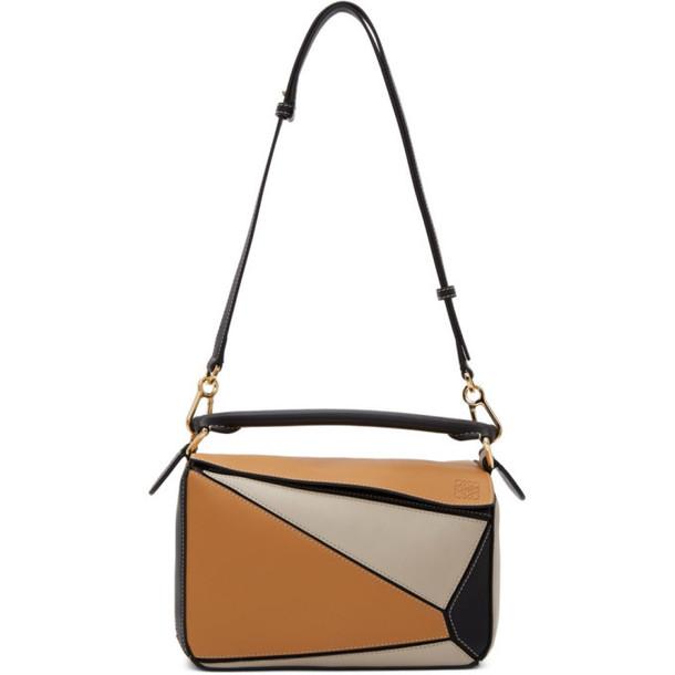 Loewe Tan and Black Small Puzzle Bag