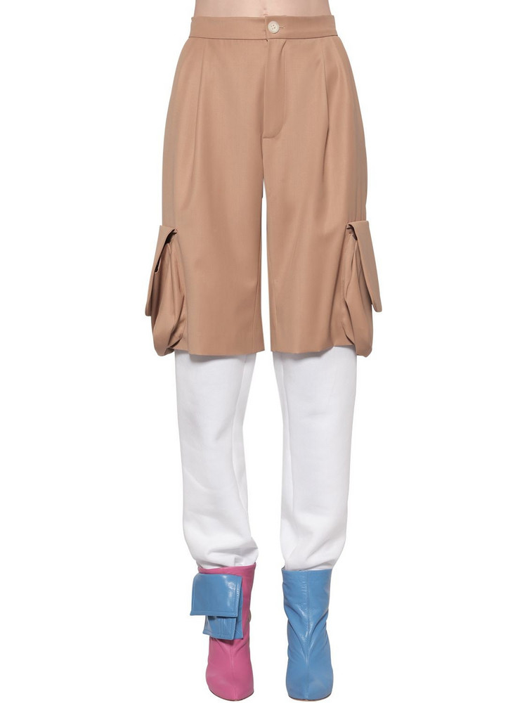 NATASHA ZINKO Gabardine & Cotton Track Pants in white / beige