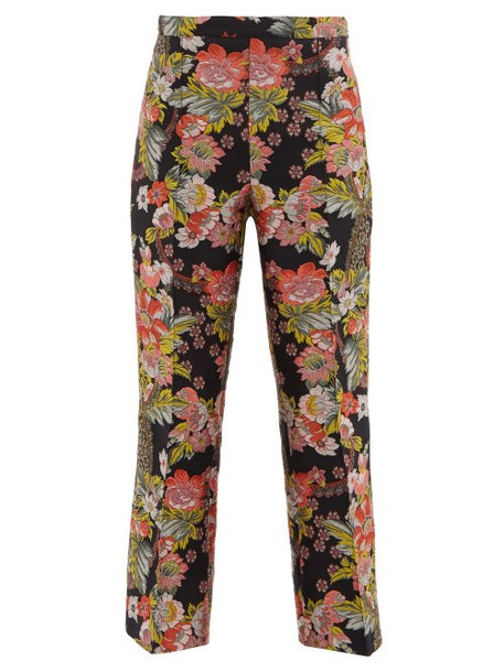 Andrew Gn - Kick Flare Floral Brocade Trousers - Womens - Black Multi