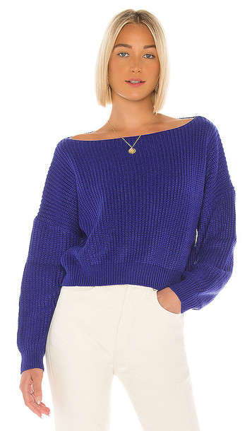 superdown Lulu Off Shoulder Sweater in Blue