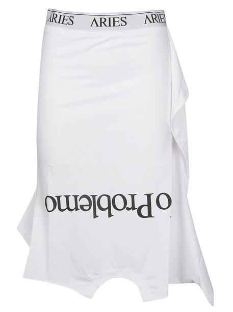 Aries Slogan Midi Skirt in white
