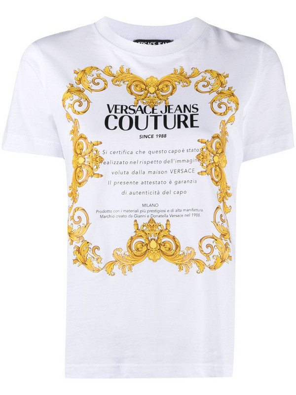 Versace Jeans Couture baroque logo T-shirt in white