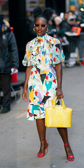 bag,colorful,spring outfits,purse,lupita nyong'o,celebrity,sandals,midi dress