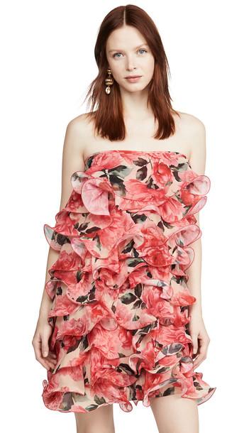 Costarellos Strapless Georgette Mini Dress in red / multi