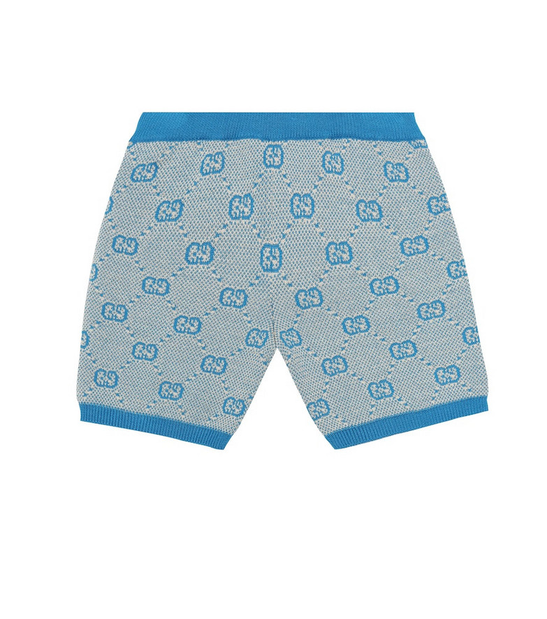 Gucci Kids Baby GG wool and cotton shorts in blue