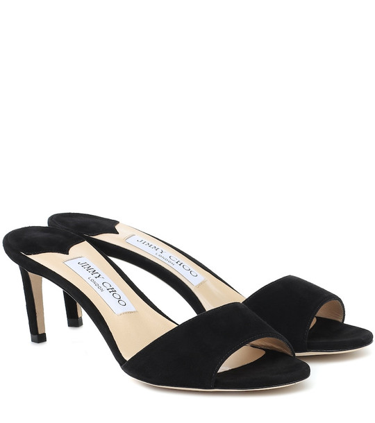 Jimmy Choo Stacey 65 suede sandals in black