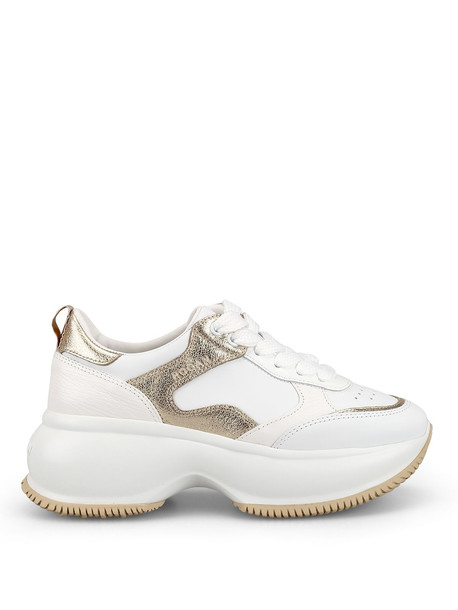 Hogan Maxi I Active White And Gold Sneakers Hxw4350bn50kox0st1
