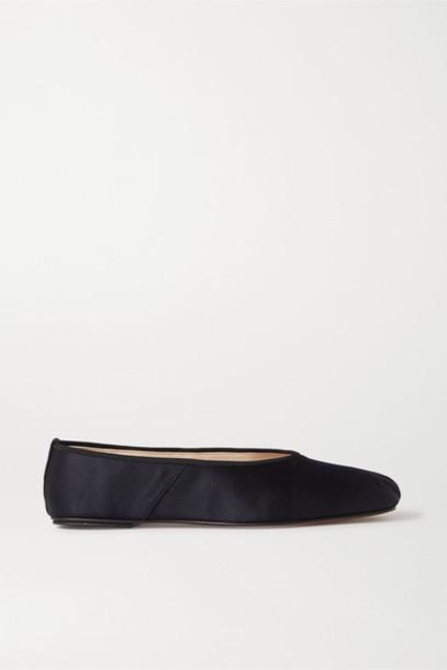 The Row - Satin Ballet Flats - Navy