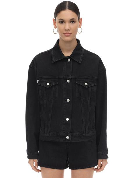 MSGM Cat Printed Cotton Denim Jacket in black
