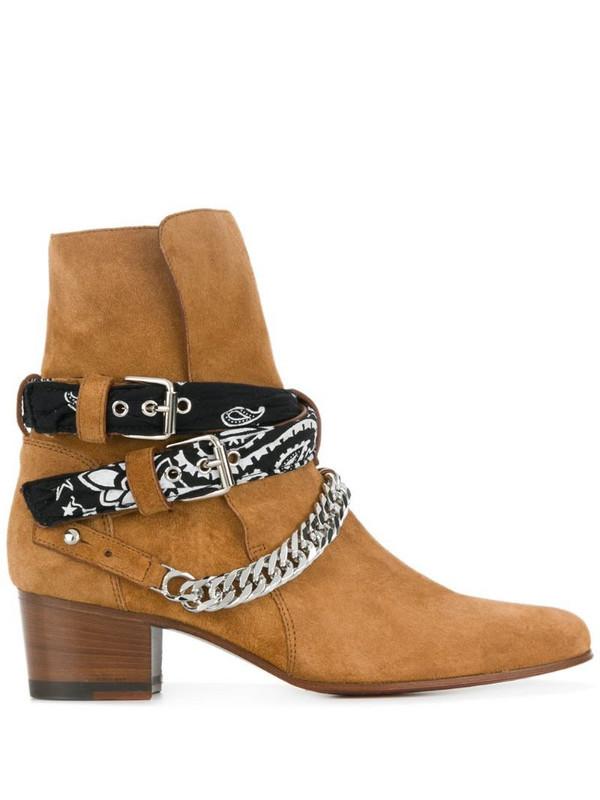 AMIRI Bandana Buckle boots in brown