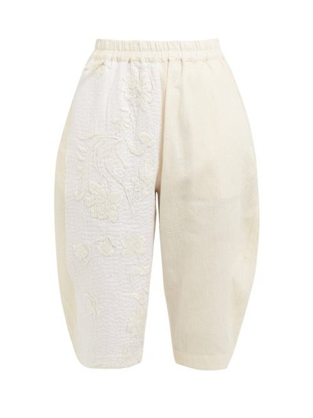 By Walid - Tamara Floral Embroidered Cotton Shorts - Womens - Cream