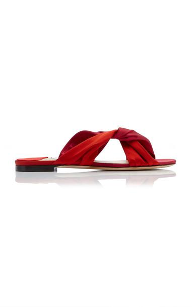 Jimmy Choo Lela Satin Slides Size: 38 in red